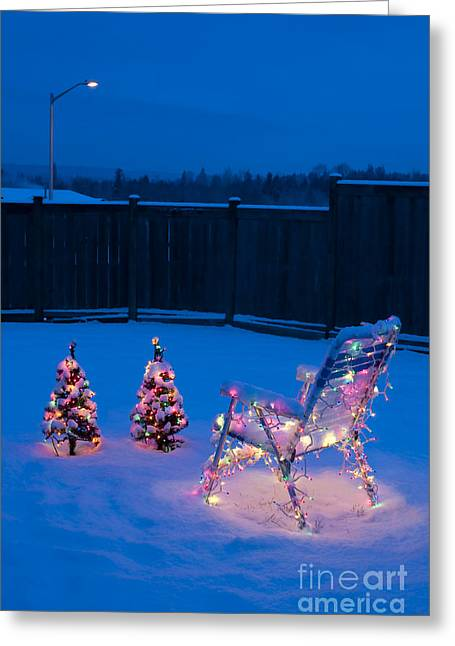 Christmas Lights On Trees And Lawn Chair Greeting Card by Jim Corwin