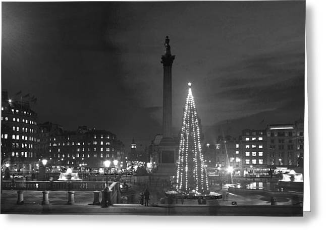 National Portrait Gallery Greeting Cards - Christmas  Tree Trafalgar Square Greeting Card by David French