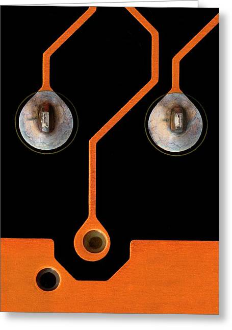 Circuit Board Tin Contacts Greeting Card by Antonio Romero
