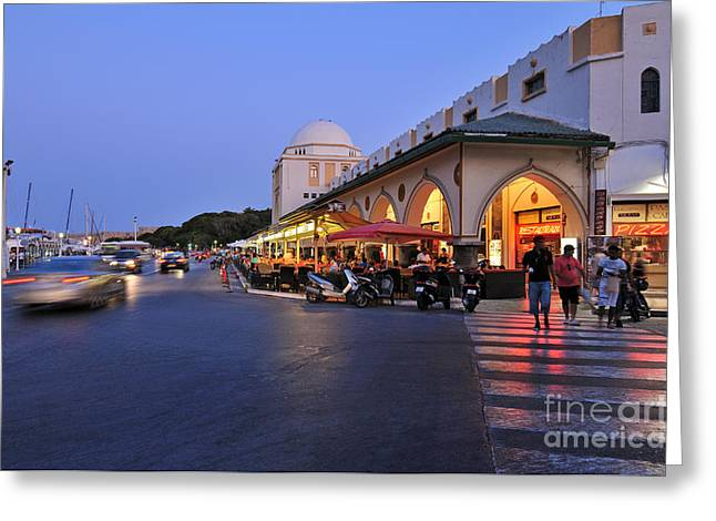 Dodekanissos Greeting Cards - City of Rhodes during dusk time Greeting Card by George Atsametakis