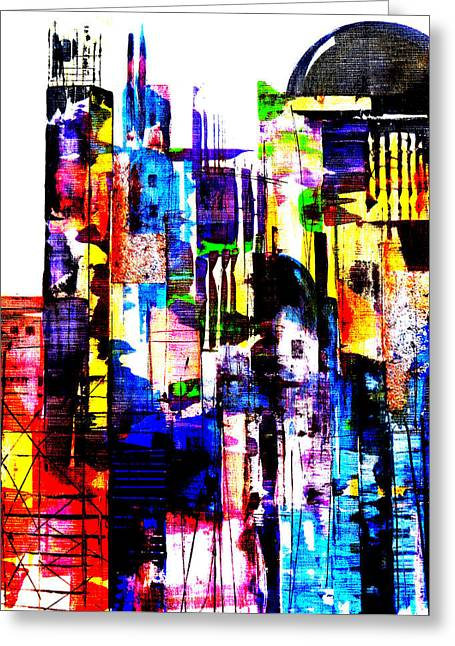 Urban Images Paintings Greeting Cards - Cityscape Greeting Card by Katie Black