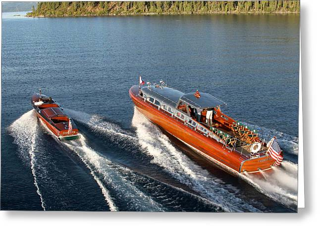 Maritime Classics Greeting Cards - Classic Mahogany Runabouts Greeting Card by Steven Lapkin