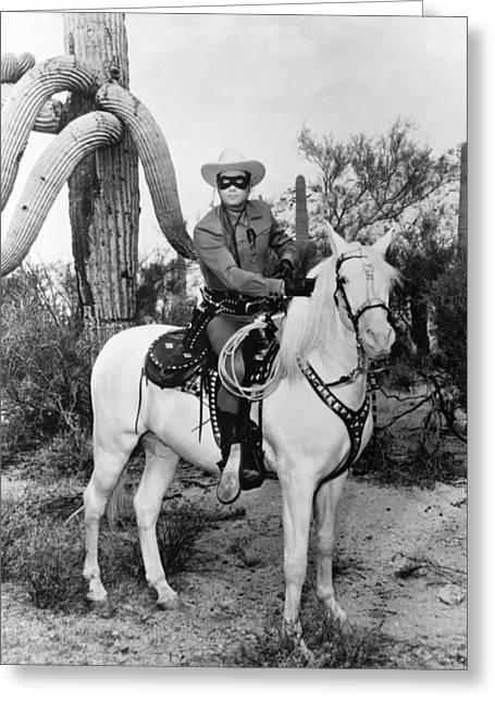 Clayton Greeting Cards - Clayton Moore in The Lone Ranger Greeting Card by Silver Screen