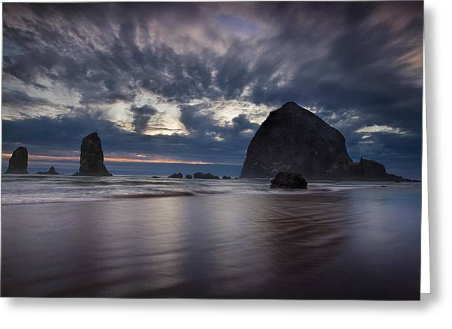 Cannon Beach Greeting Cards - Clearing Storm Greeting Card by Andrew Soundarajan
