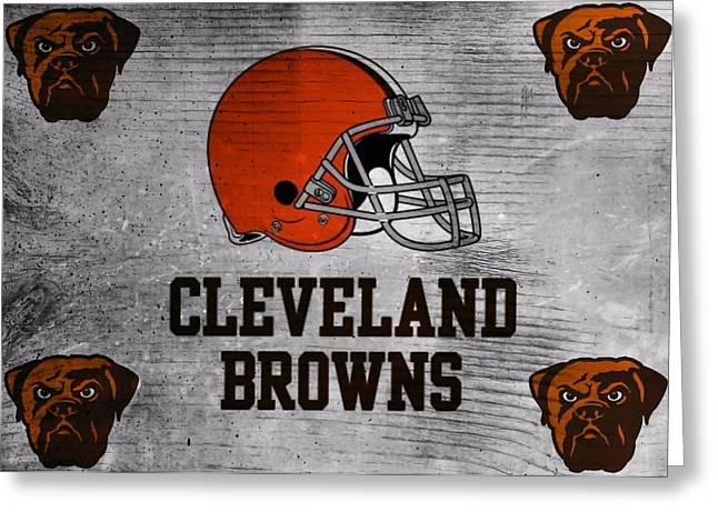 National Football League Mixed Media Greeting Cards - Cleveland Browns Greeting Card by Dan Sproul