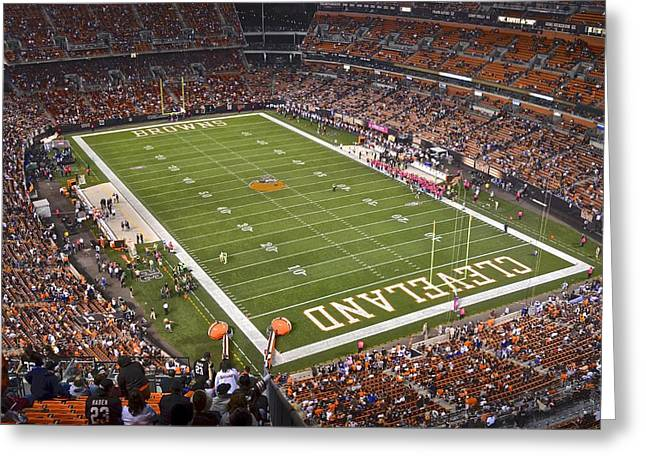 Goalpost Greeting Cards - Cleveland Browns Stadium Greeting Card by Frozen in Time Fine Art Photography