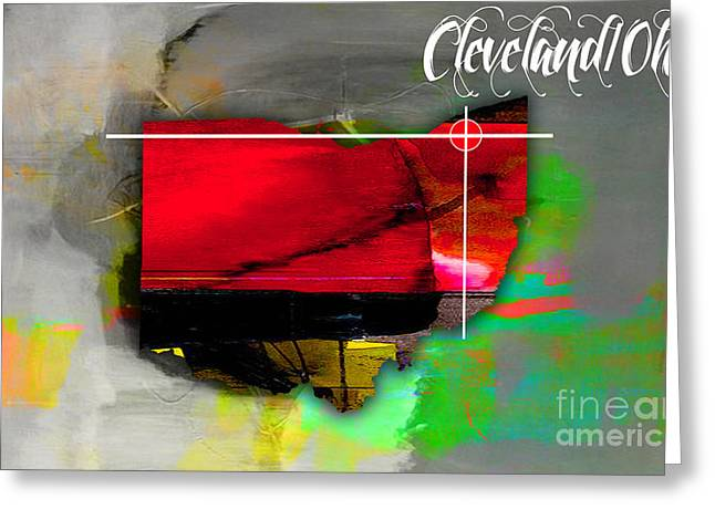 Ohio State Greeting Cards - Cleveland Ohio Map Watercolor Greeting Card by Marvin Blaine