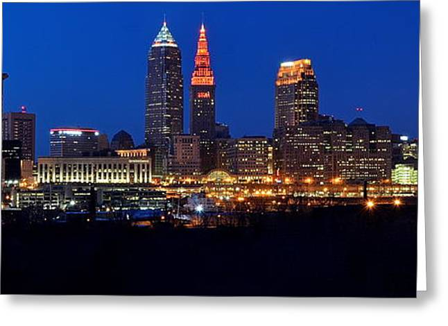 Fame Greeting Cards - Cleveland Panorama Greeting Card by Frozen in Time Fine Art Photography