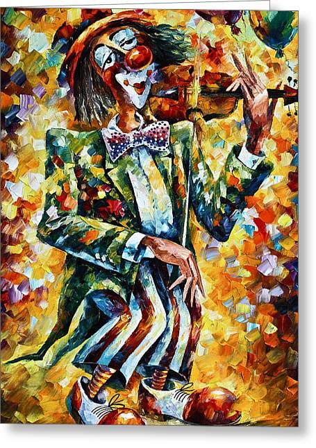Clown Greeting Card by Leonid Afremov