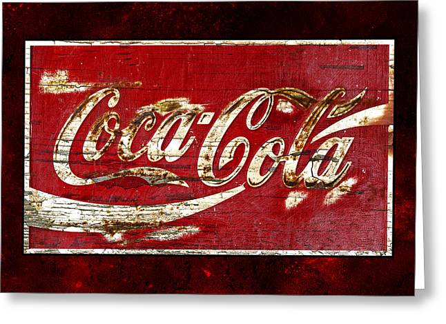 Closeup Coca Cola Sign Greeting Cards - Coca Cola Sign Cracked Paint Greeting Card by John Stephens