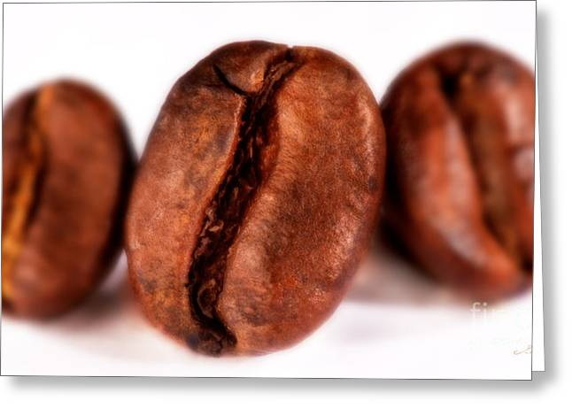 3 Coffee Beans Greeting Card by Iris Richardson