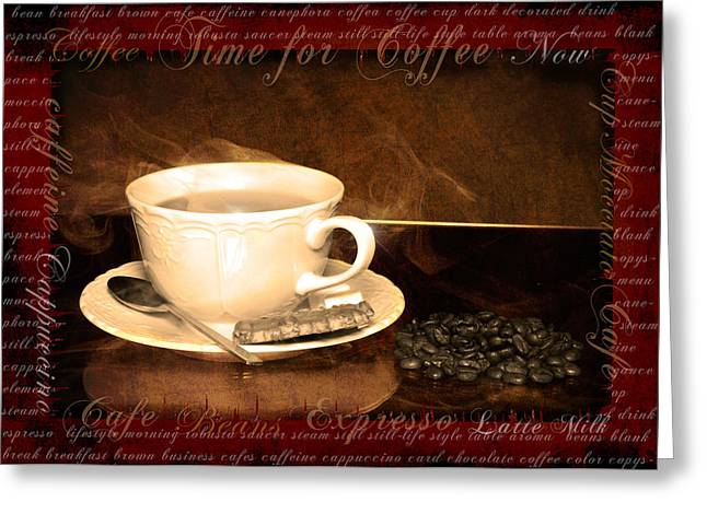 Menu Illustrations Greeting Cards - Coffee cup  Greeting Card by Toppart Sweden