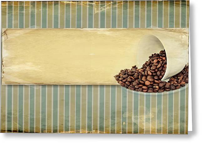 Coffee Drinking Mixed Media Greeting Cards - Coffee Time Greeting Card by Heike Hultsch