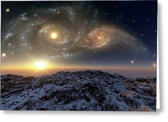 Colliding Galaxies Greeting Card by Detlev Van Ravenswaay