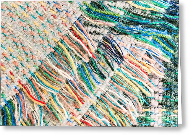 Beige Abstract Greeting Cards - Colorful blanket Greeting Card by Tom Gowanlock