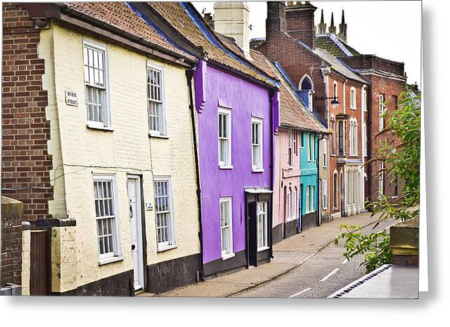 Lilac Greeting Cards - Colorful cottages Greeting Card by Tom Gowanlock
