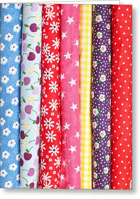 Flowery Greeting Cards - Colorful fabrics Greeting Card by Tom Gowanlock