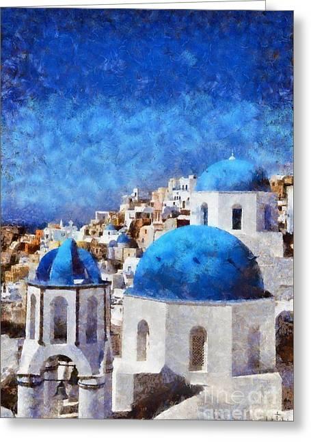 Cyclades Greeting Cards - Colorful Oia in Santorini island Greeting Card by George Atsametakis