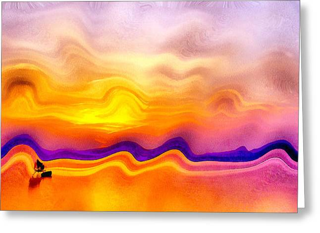 Water Filter Paintings Greeting Cards - Colorful Sunset Greeting Card by Odon Czintos