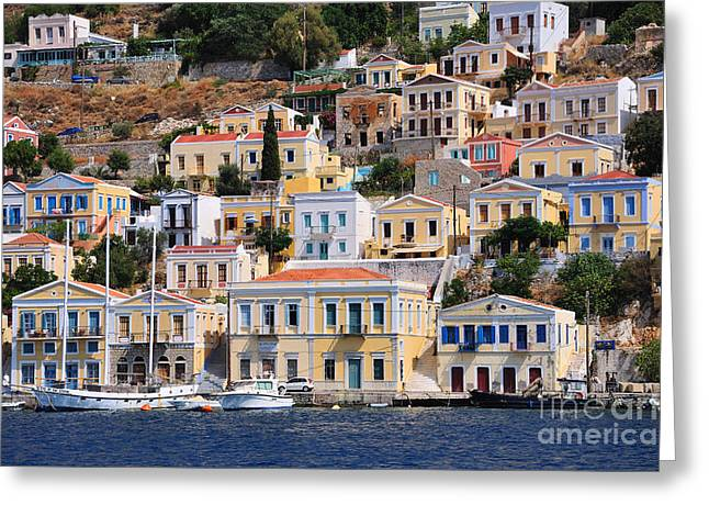 Dodekanissos Greeting Cards - Colorful Symi Greeting Card by George Atsametakis