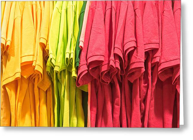 White Cloth Greeting Cards - Colorful tops Greeting Card by Tom Gowanlock