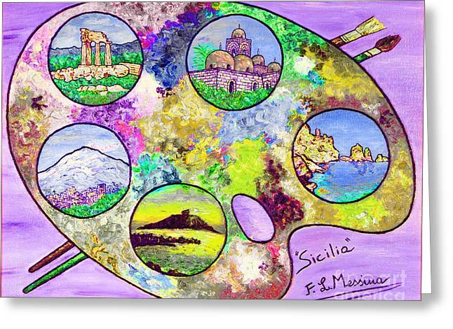 Europe Mixed Media Greeting Cards - Sicily on a palette Greeting Card by Loredana Messina