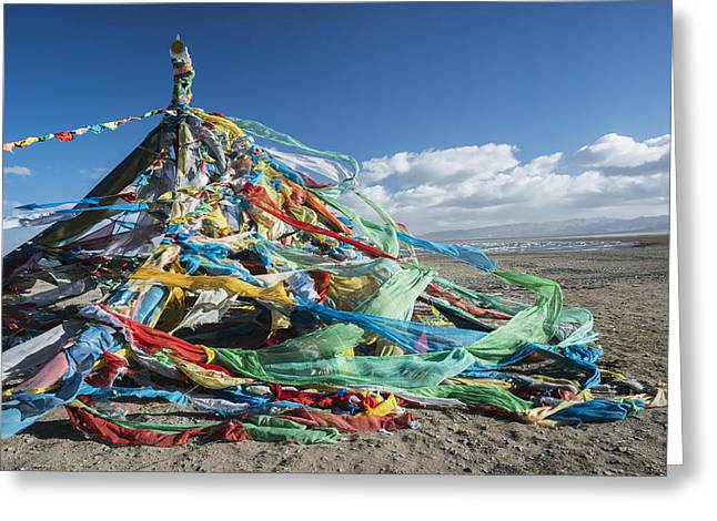 Tibetan Buddhism Greeting Cards - Colourful Tibetan Prayer Flags _lung Greeting Card by Sergey Orlov