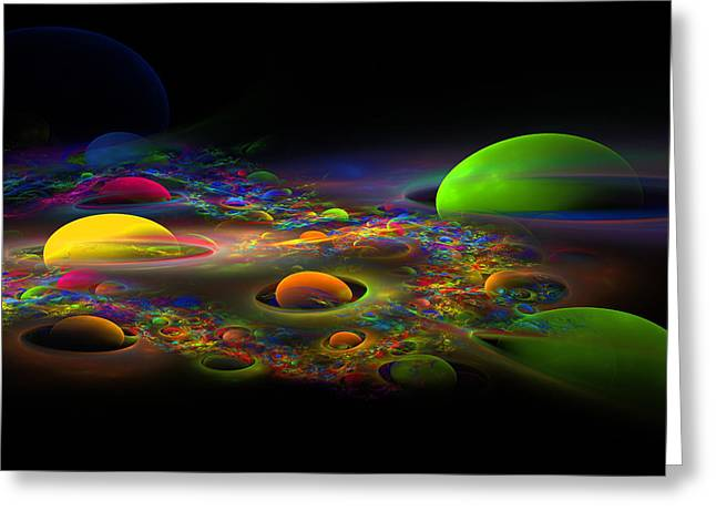 Vibrant Green Greeting Cards - Computer Generated Spheres Abstract Fractal Flame Art Greeting Card by Keith Webber Jr