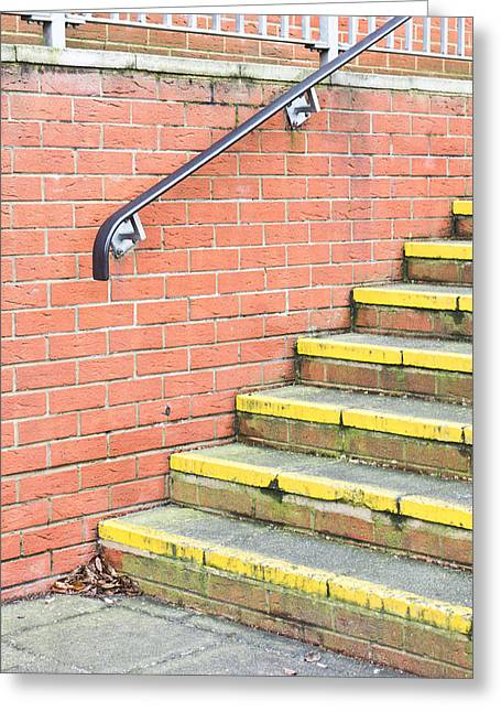 Bannister Greeting Cards - Concrete steps Greeting Card by Tom Gowanlock