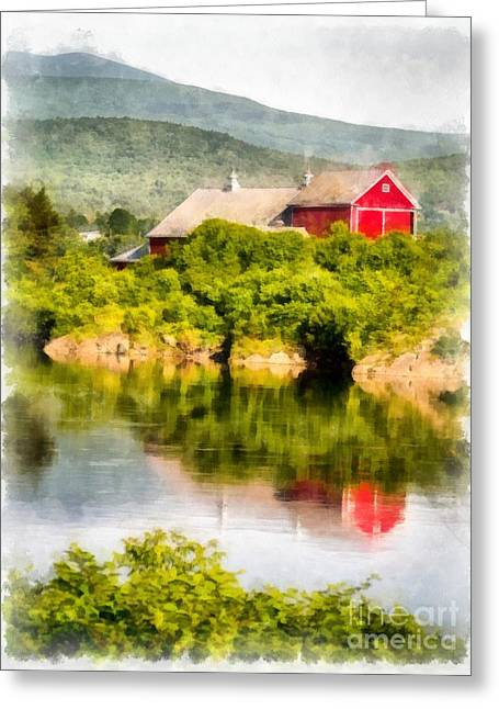 Connecticut Farms Greeting Cards - Connecticut River Farm Greeting Card by Edward Fielding