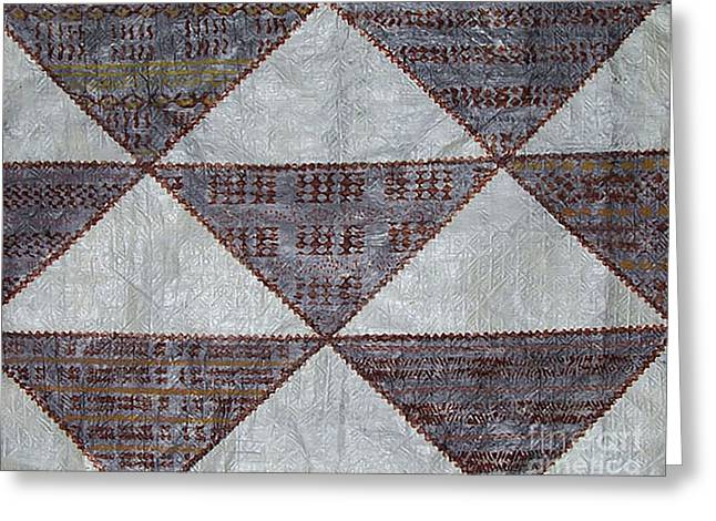 Handcrafted Tapestries - Textiles Greeting Cards - 3 Corners Kapa Greeting Card by Dalani Tanahy