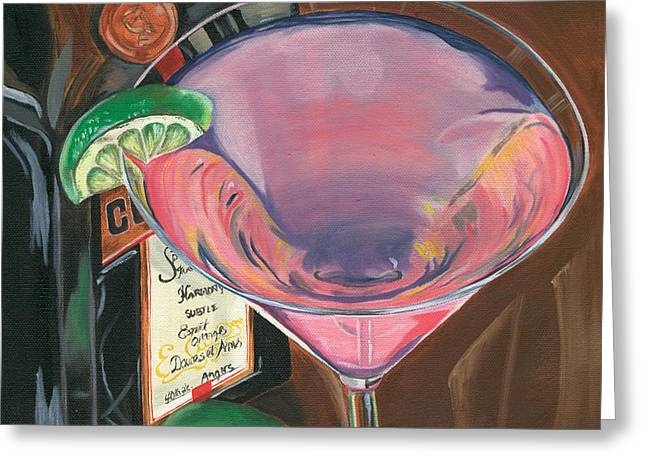 Liquor Greeting Cards - Cosmo Martini Greeting Card by Debbie DeWitt