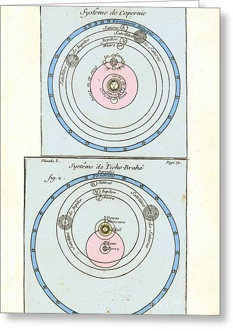 18th Century Greeting Cards - Cosmologies Of Copernicus And Tycho Greeting Card by Detlev van Ravenswaay