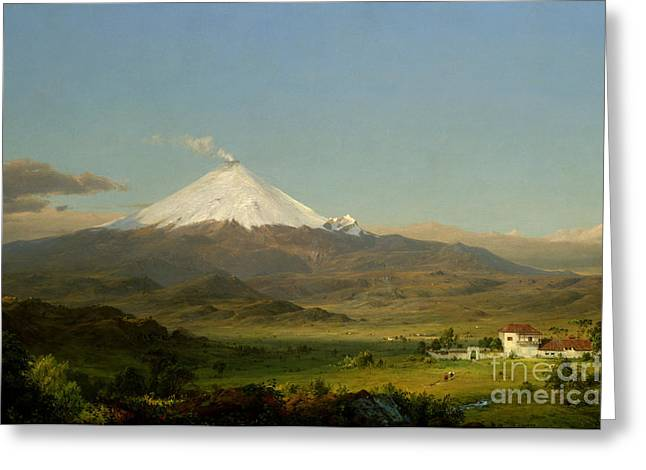 Steer Greeting Cards - Cotopaxi Greeting Card by Frederic Edwin Church