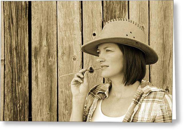 Pretty Cowgirl Greeting Cards - Cowgirl Greeting Card by Sophie Vigneault
