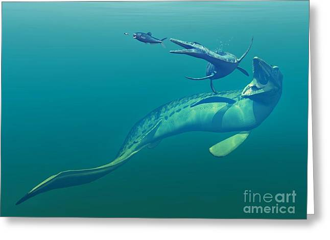 Cretaceous Seaway Greeting Cards - Cretaceous Marine Predators, Artwork Greeting Card by Walter Myers