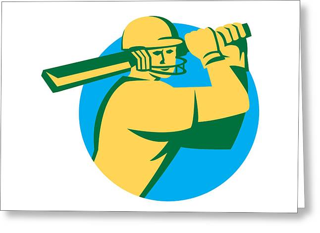 Batting Helmet Greeting Cards - Cricket Player Batsman Batting Circle Retro Greeting Card by Aloysius Patrimonio