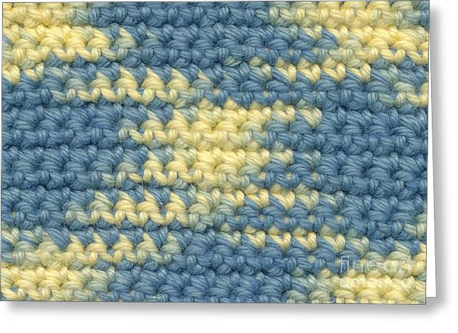 Cross Tapestries - Textiles Greeting Cards - Crochet made with variegated yarn Greeting Card by Kerstin Ivarsson