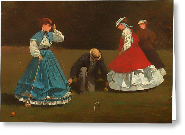 Croquet Greeting Cards - Croquet Scene Greeting Card by Winslow Homer