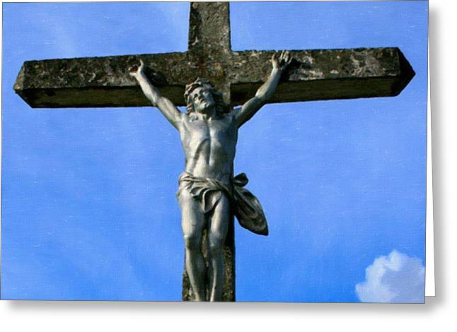 Religious Art Paintings Greeting Cards - Crucifix Greeting Card by Victor Gladkiy