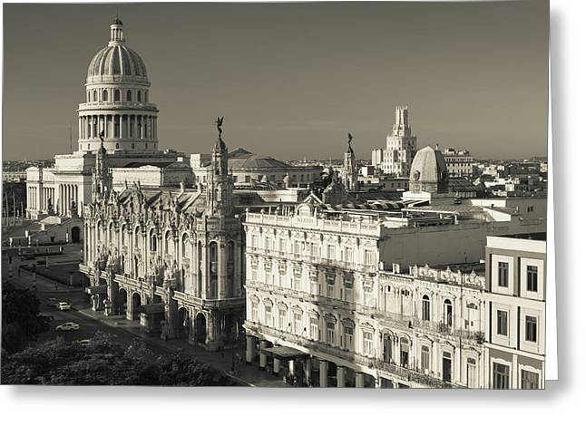 Cuba, Havana, Havana Vieja Greeting Card by Walter Bibikow