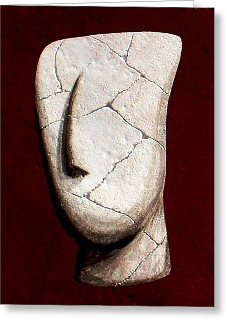 Figurine Sculptures Greeting Cards - Cycladic Idol Greeting Card by Thiras art