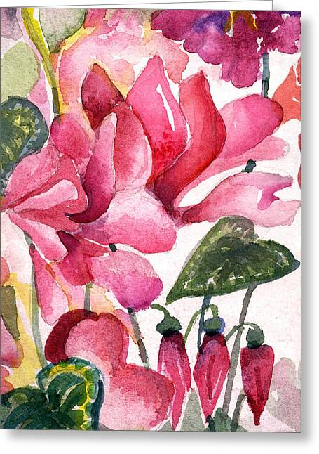 Gentle Petals Greeting Cards - Cyclamen Greeting Card by Mindy Newman