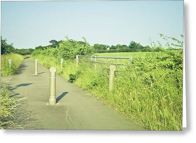 Border Photographs Greeting Cards - Cycle path Greeting Card by Tom Gowanlock