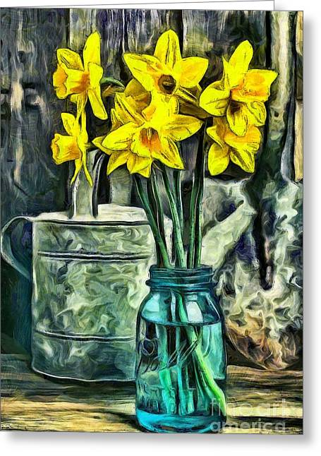 Mason Jar Greeting Cards - Daffodils Greeting Card by Edward Fielding