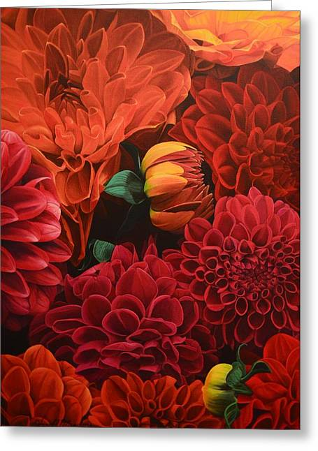 Flower Arraignment Greeting Cards - Dahlias Greeting Card by Harold Meadors