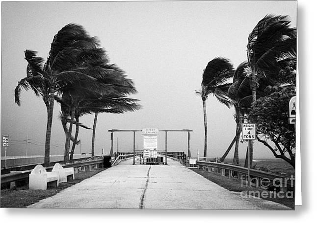 Dark Grey Greeting Cards - Dark Rain Storm Clouds Blow Over The Seven-mile Bridge Marathon Key Florida Keys Usa Greeting Card by Joe Fox