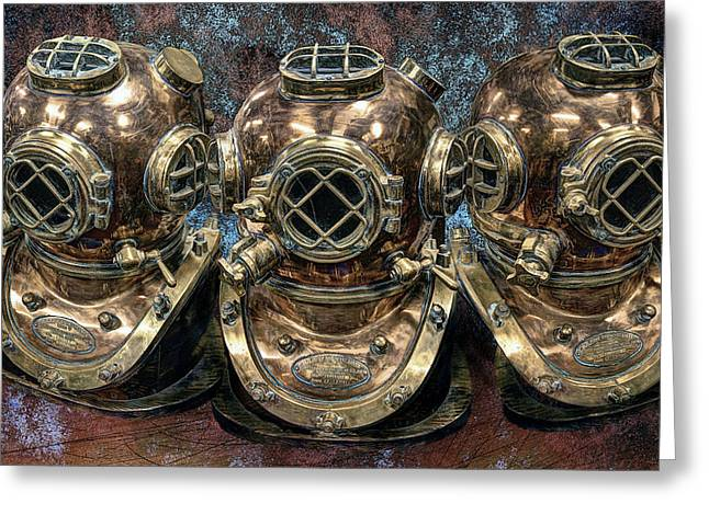 Scuba Divers Greeting Cards - 3 Deep-diving Helmets Greeting Card by Daniel Hagerman