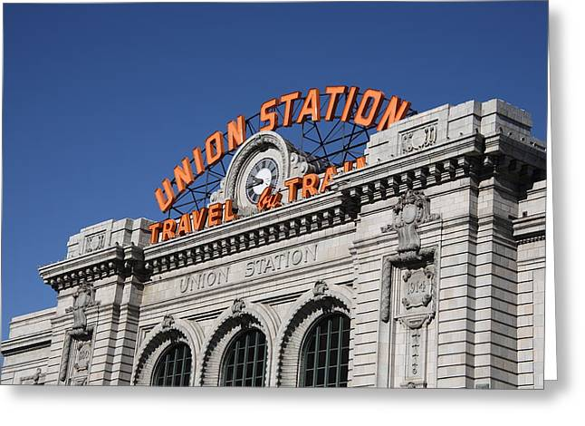 Railroads Framed Prints Greeting Cards - Denver - Union Station Greeting Card by Frank Romeo