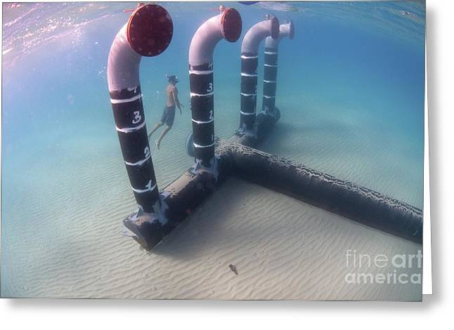 Brine Greeting Cards - Desalination Plant Brine Discharge Pipe Greeting Card by PhotoStock-Israel
